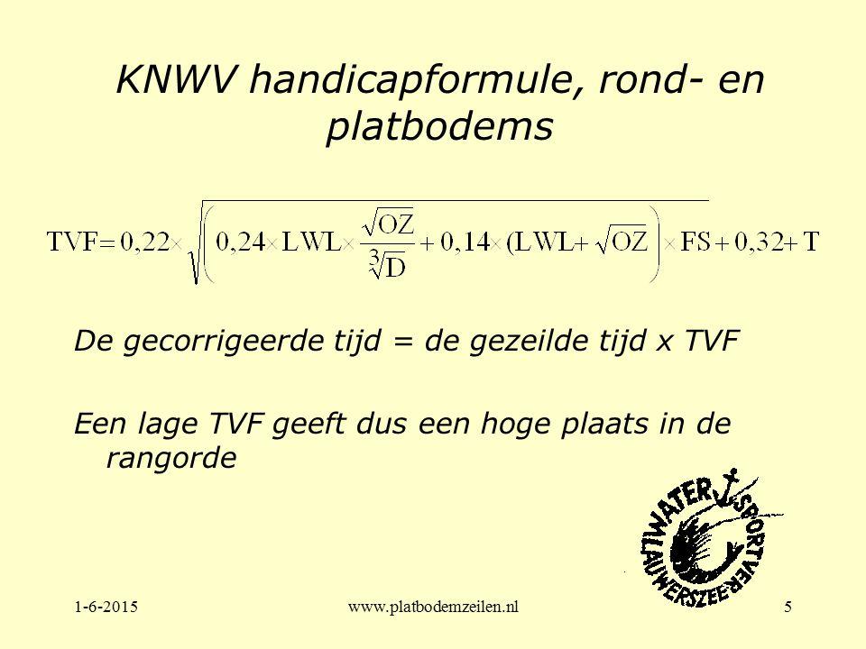 1-6-2015www.platbodemzeilen.nl5 KNWV handicapformule, rond- en platbodems De gecorrigeerde tijd = de gezeilde tijd x TVF Een lage TVF geeft dus een ho