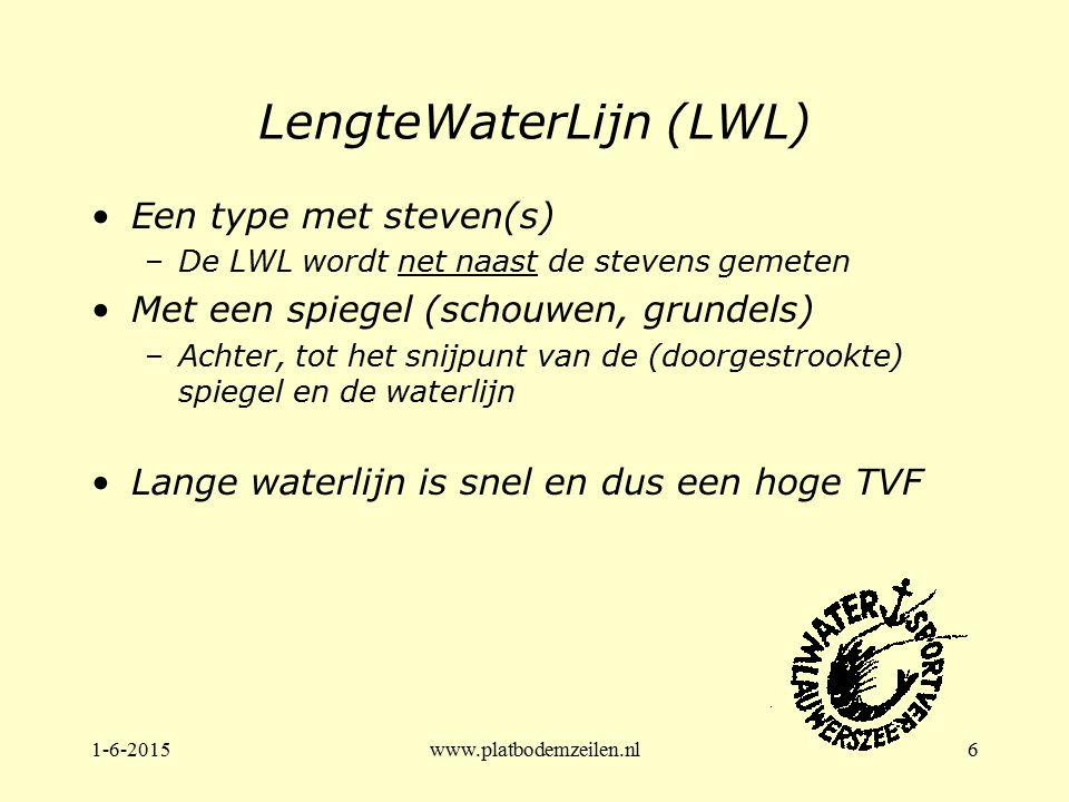 1-6-2015www.platbodemzeilen.nl6 LengteWaterLijn (LWL) Een type met steven(s) –De LWL wordt net naast de stevens gemeten Met een spiegel (schouwen, gru