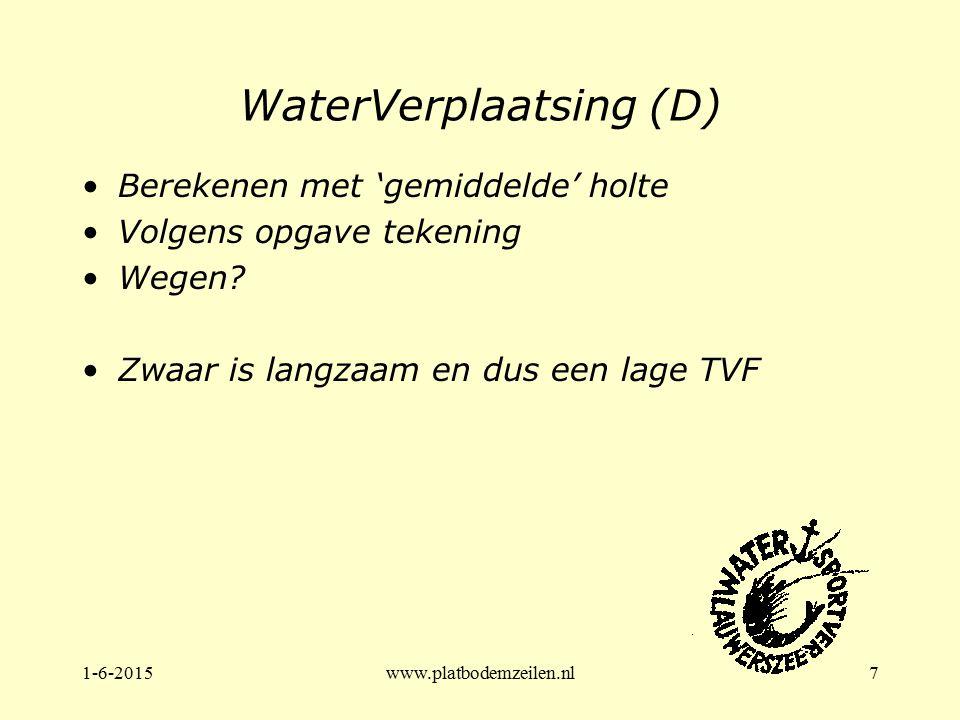 1-6-2015www.platbodemzeilen.nl7 WaterVerplaatsing (D) Berekenen met 'gemiddelde' holte Volgens opgave tekening Wegen? Zwaar is langzaam en dus een lag