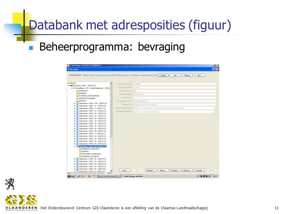 Het Ondersteunend Centrum GIS-Vlaanderen is een afdeling van de Vlaamse Landmaatschappij11 Databank met adresposities (figuur) Beheerprogramma: bevraging