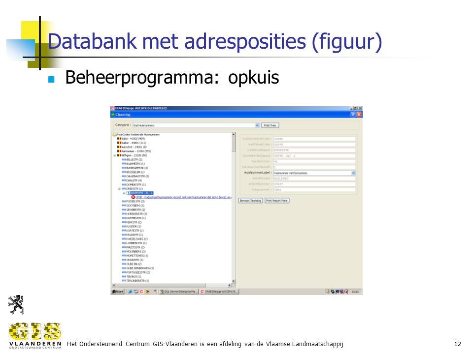 Het Ondersteunend Centrum GIS-Vlaanderen is een afdeling van de Vlaamse Landmaatschappij12 Databank met adresposities (figuur) Beheerprogramma: opkuis