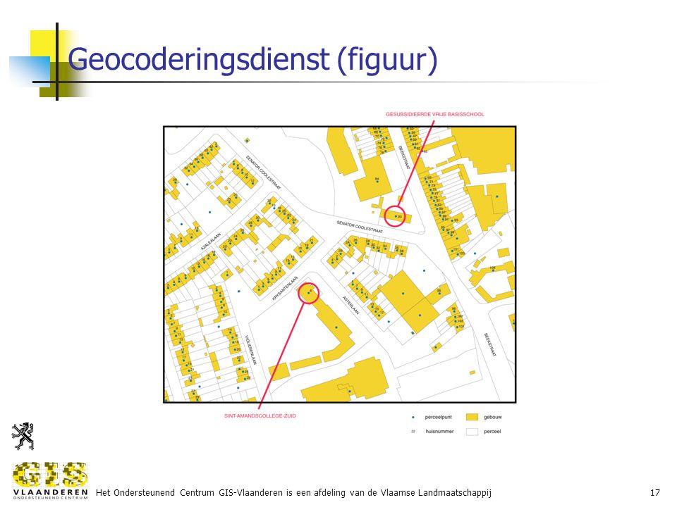 Het Ondersteunend Centrum GIS-Vlaanderen is een afdeling van de Vlaamse Landmaatschappij17 Geocoderingsdienst (figuur)