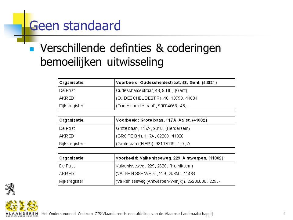 Het Ondersteunend Centrum GIS-Vlaanderen is een afdeling van de Vlaamse Landmaatschappij4 Geen standaard Verschillende definties & coderingen bemoeilijken uitwisseling