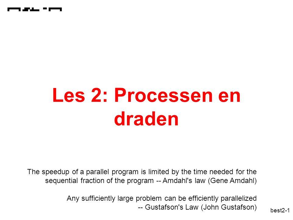 best2-12 Procescreatie in Unix (2) proces data code proces data code proces' data' code Kloon overladen: execlp( prog ,arg0, arg1,..)