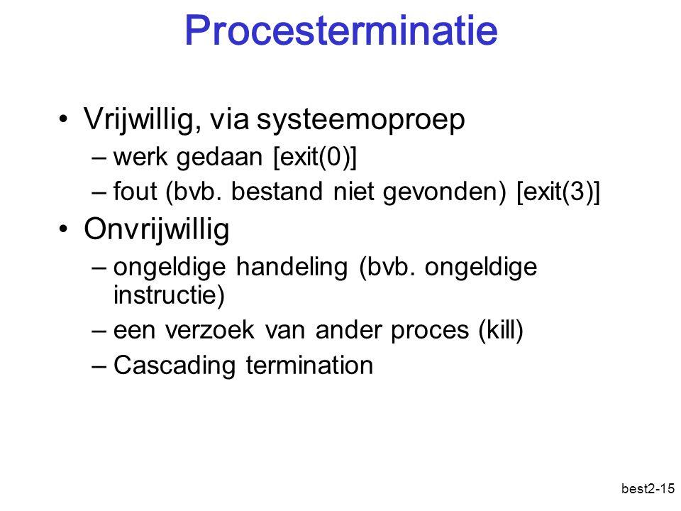 best2-15 Procesterminatie Vrijwillig, via systeemoproep –werk gedaan [exit(0)] –fout (bvb.