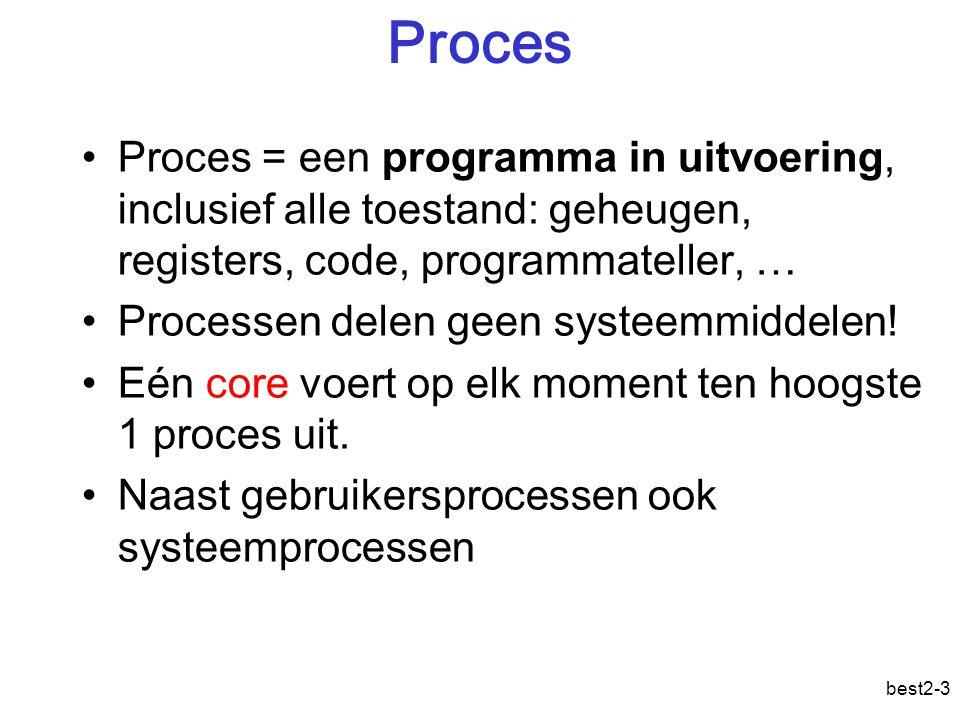 best2-3 Proces Proces = een programma in uitvoering, inclusief alle toestand: geheugen, registers, code, programmateller, … Processen delen geen systeemmiddelen.