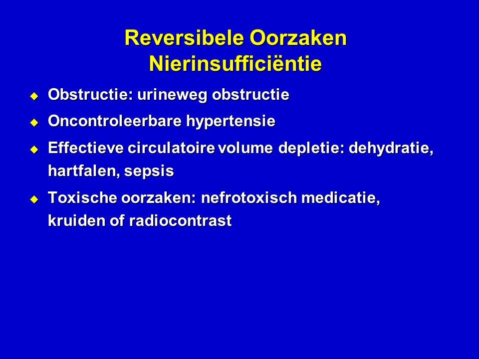 Reversibele Oorzaken Nierinsufficiëntie  Obstructie: urineweg obstructie  Oncontroleerbare hypertensie  Effectieve circulatoire volume depletie: dehydratie, hartfalen, sepsis  Toxische oorzaken: nefrotoxisch medicatie, kruiden of radiocontrast