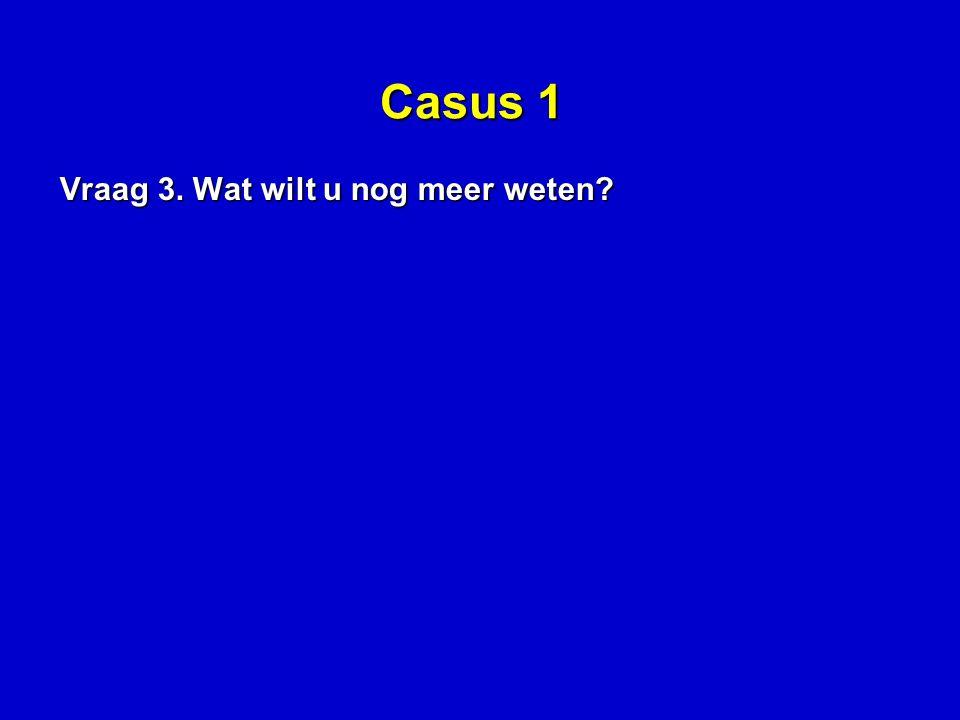 Casus 1 Vraag 3. Wat wilt u nog meer weten?