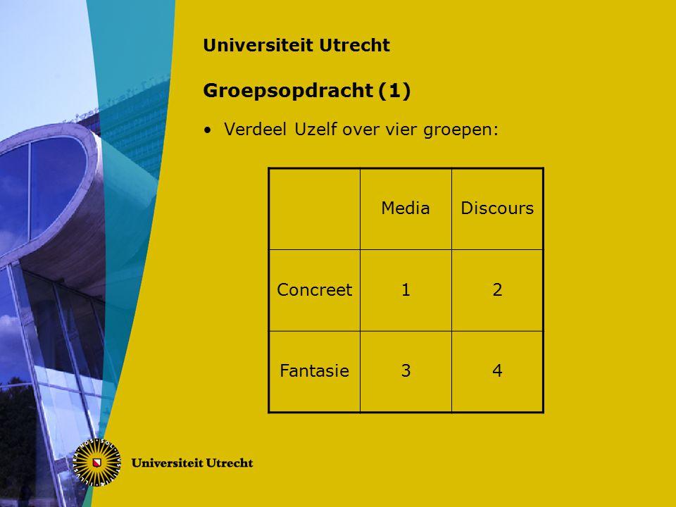 Universiteit Utrecht Groepsopdracht (1) Verdeel Uzelf over vier groepen: MediaDiscours Concreet12 Fantasie34