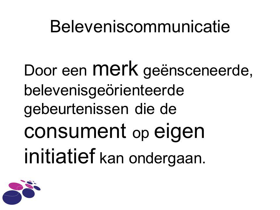 Beleveniscommunicatie Door een merk geënsceneerde, belevenisgeörienteerde gebeurtenissen die de consument op eigen initiatief kan ondergaan.