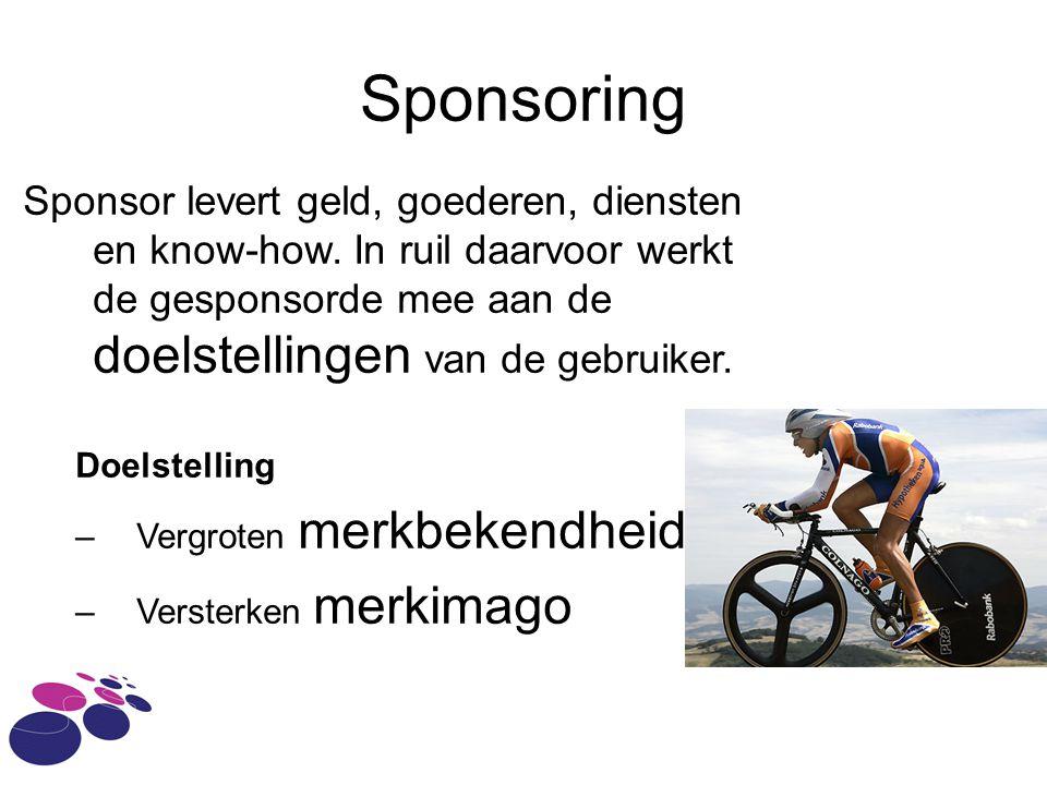 Sponsoring Sponsor levert geld, goederen, diensten en know-how.
