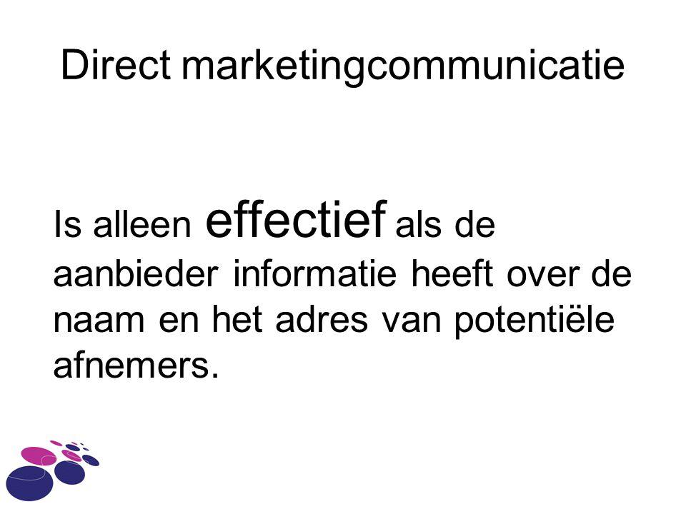 Direct marketingcommunicatie Is alleen effectief als de aanbieder informatie heeft over de naam en het adres van potentiële afnemers.