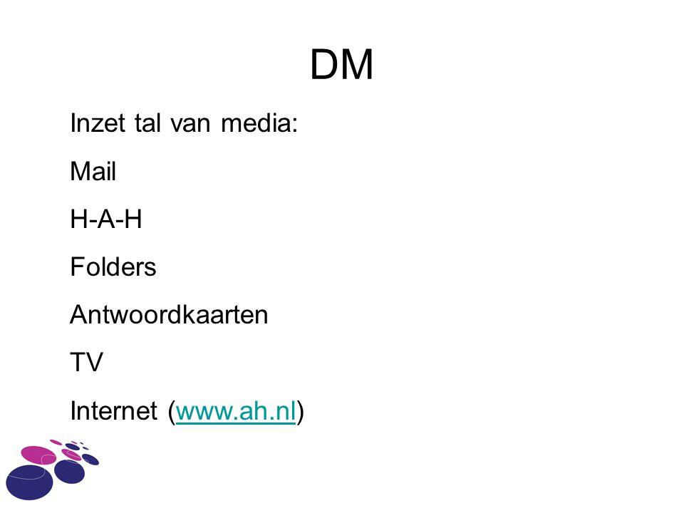 DM Inzet tal van media: Mail H-A-H Folders Antwoordkaarten TV Internet (www.ah.nl)www.ah.nl
