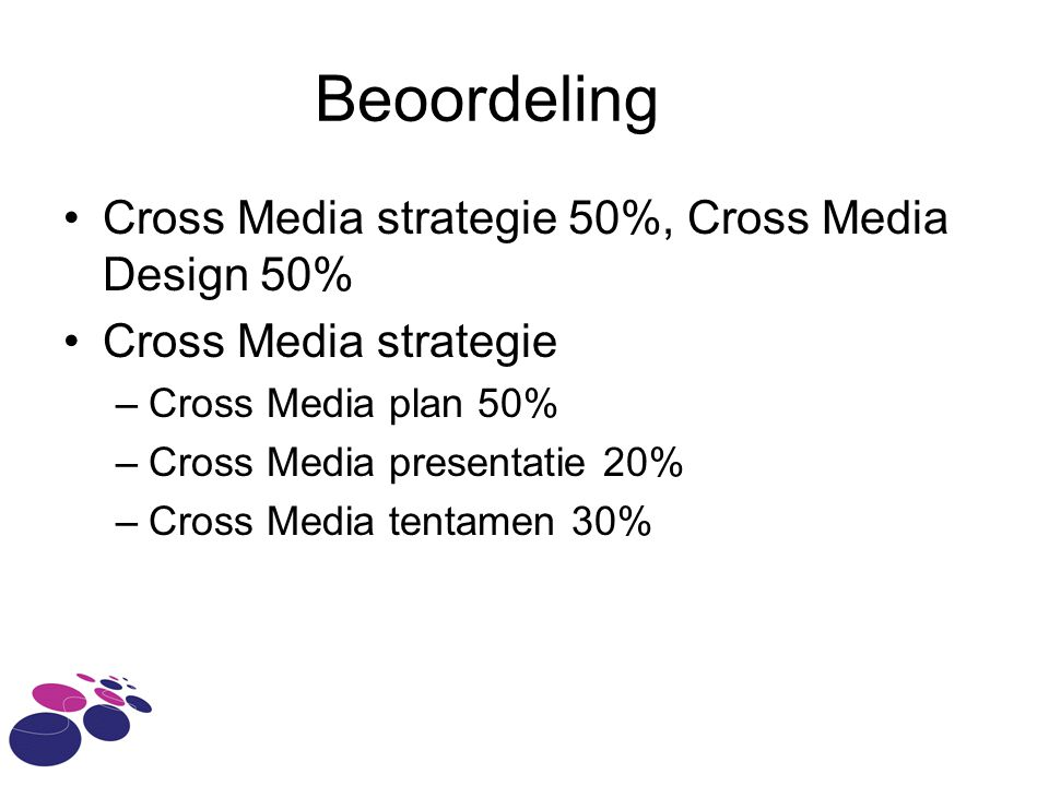 Beoordeling Cross Media strategie 50%, Cross Media Design 50% Cross Media strategie –Cross Media plan 50% –Cross Media presentatie 20% –Cross Media te