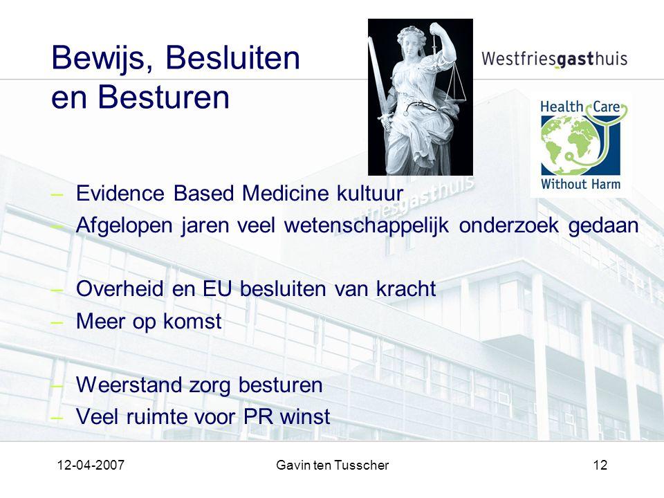 12-04-2007Gavin ten Tusscher12 Bewijs, Besluiten en Besturen –Evidence Based Medicine kultuur –Afgelopen jaren veel wetenschappelijk onderzoek gedaan –Overheid en EU besluiten van kracht –Meer op komst –Weerstand zorg besturen –Veel ruimte voor PR winst