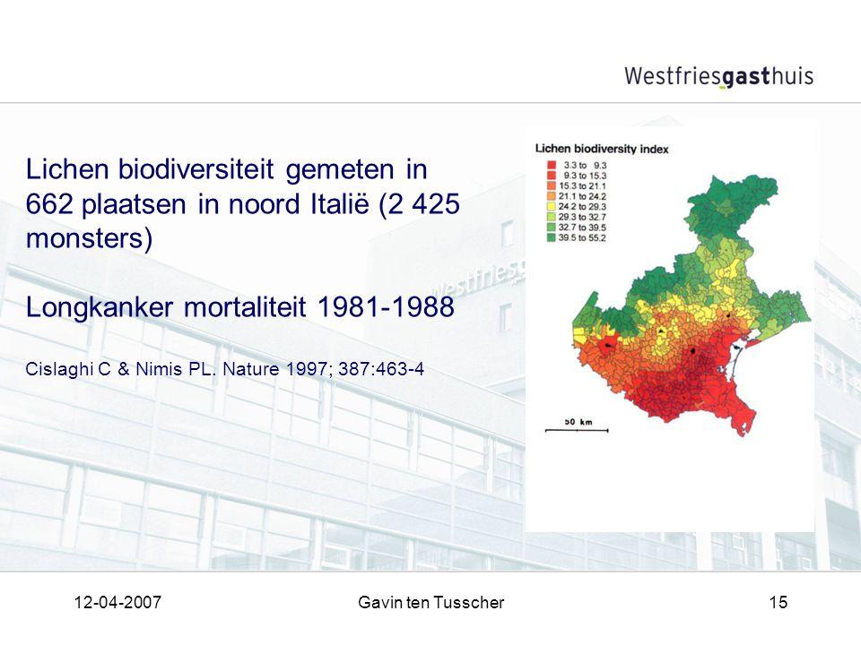 12-04-2007Gavin ten Tusscher15 Lichen biodiversiteit gemeten in 662 plaatsen in noord Italië (2 425 monsters) Longkanker mortaliteit 1981-1988 Cislaghi C & Nimis PL.