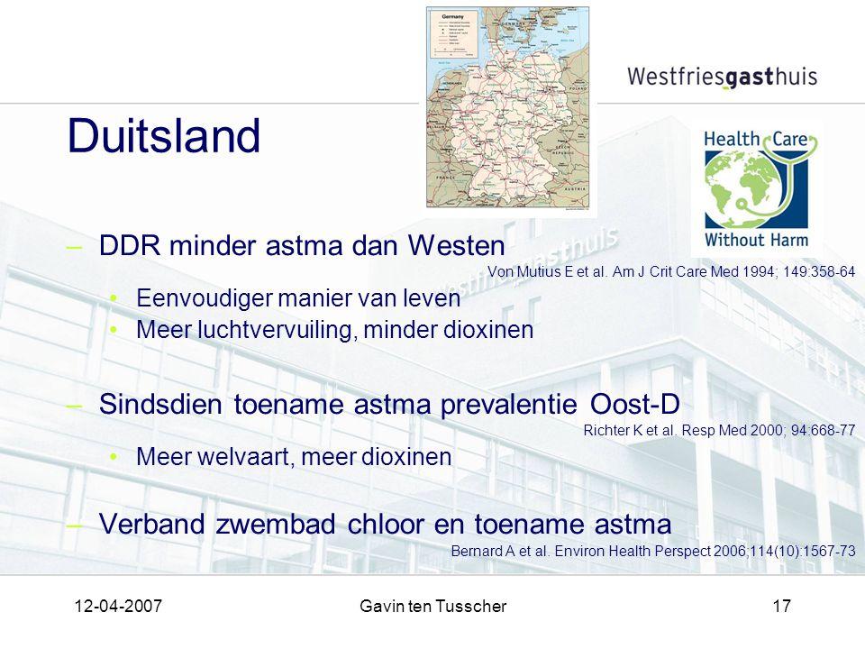 12-04-2007Gavin ten Tusscher17 Duitsland –DDR minder astma dan Westen Von Mutius E et al. Am J Crit Care Med 1994; 149:358-64 Eenvoudiger manier van l