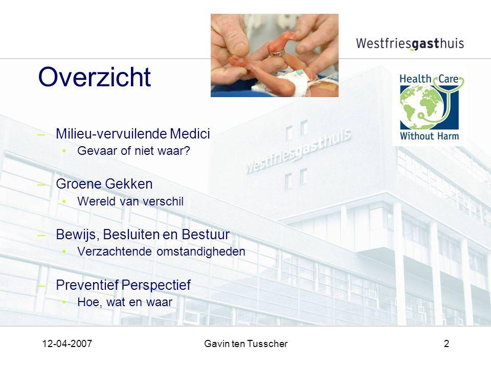 12-04-2007Gavin ten Tusscher2 Overzicht –Milieu-vervuilende Medici Gevaar of niet waar.