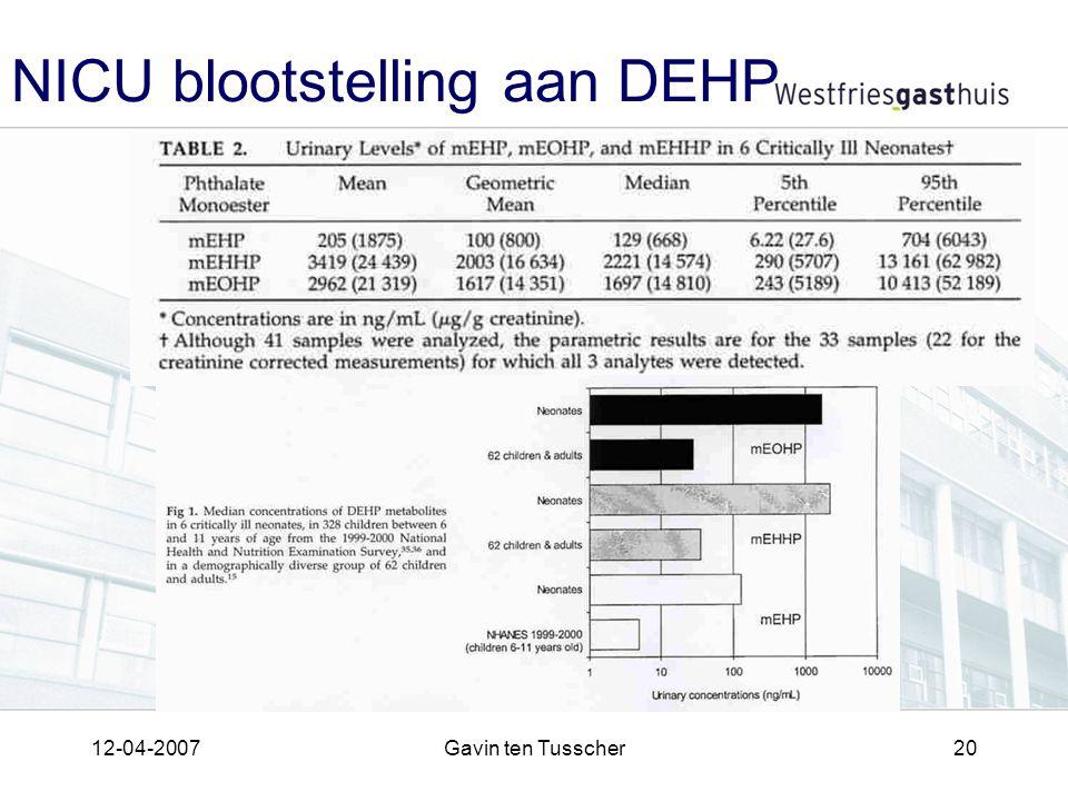 12-04-2007Gavin ten Tusscher20 NICU blootstelling aan DEHP