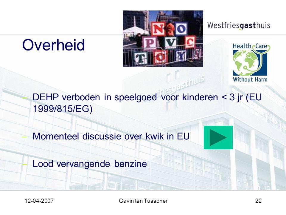12-04-2007Gavin ten Tusscher22 Overheid –DEHP verboden in speelgoed voor kinderen < 3 jr (EU 1999/815/EG) –Momenteel discussie over kwik in EU –Lood vervangende benzine