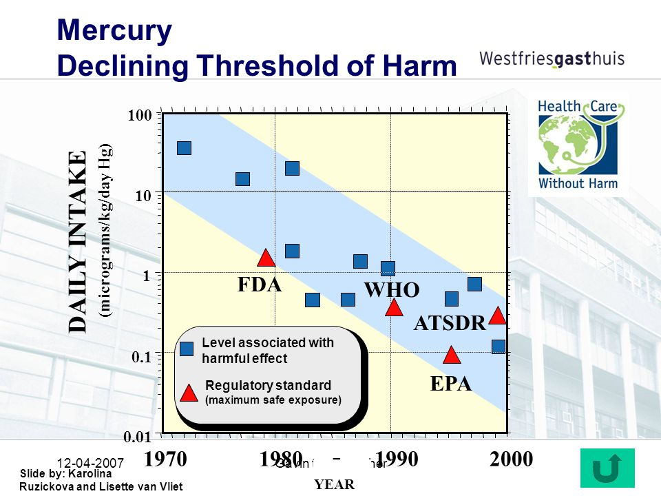 12-04-2007Gavin ten Tusscher30 Mercury Declining Threshold of Harm 2000199019801970 0.01 0.1 1 10 100 YEAR FDA WHO EPA ATSDR DAILY INTAKE (micrograms/kg/day Hg) Level associated with harmful effect Regulatory standard (maximum safe exposure) Slide by: Karolina Ruzickova and Lisette van Vliet
