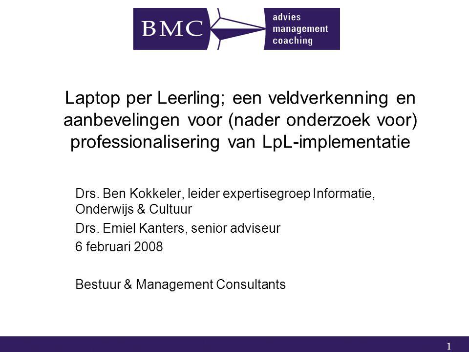1 Laptop per Leerling; een veldverkenning en aanbevelingen voor (nader onderzoek voor) professionalisering van LpL-implementatie Drs.