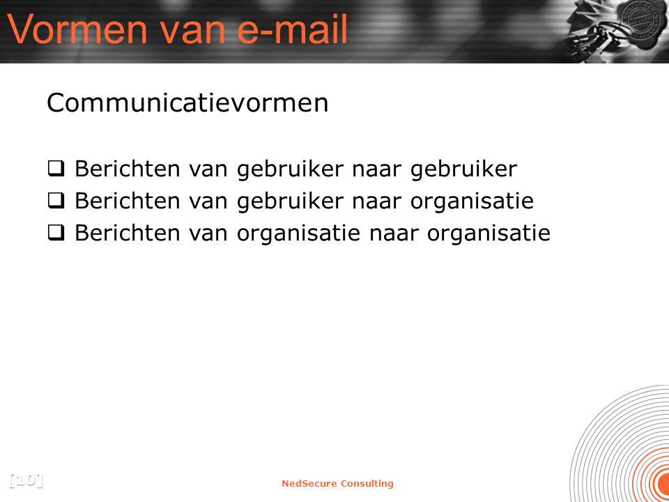 NedSecure Consulting Vormen van e-mail Communicatievormen  Berichten van gebruiker naar gebruiker  Berichten van gebruiker naar organisatie  Berichten van organisatie naar organisatie