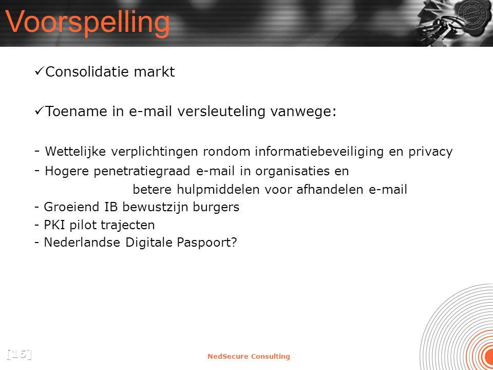 NedSecure Consulting Voorspelling Consolidatie markt Toename in e-mail versleuteling vanwege: - Wettelijke verplichtingen rondom informatiebeveiliging en privacy - Hogere penetratiegraad e-mail in organisaties en betere hulpmiddelen voor afhandelen e-mail - Groeiend IB bewustzijn burgers - PKI pilot trajecten - Nederlandse Digitale Paspoort?
