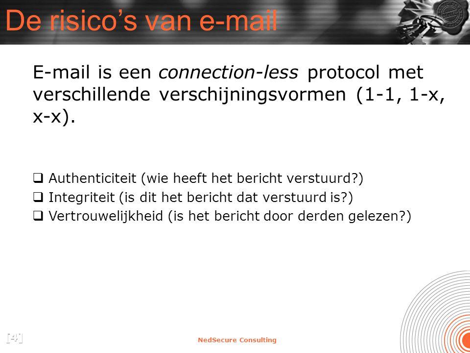 NedSecure Consulting De risico's van e-mail E-mail is een connection-less protocol met verschillende verschijningsvormen (1-1, 1-x, x-x).