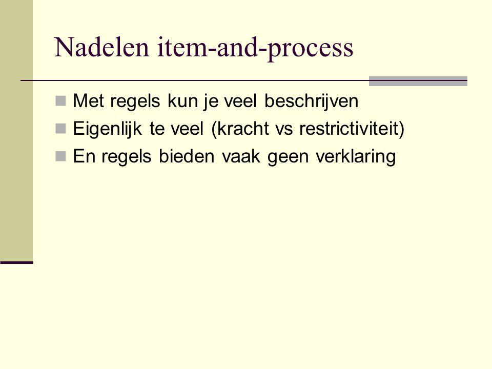 Nadelen item-and-process Met regels kun je veel beschrijven Eigenlijk te veel (kracht vs restrictiviteit) En regels bieden vaak geen verklaring
