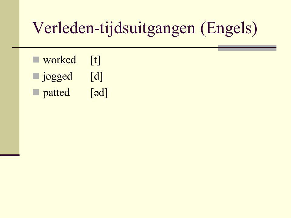 Verleden-tijdsuitgangen (Engels) worked[t] jogged[d] patted[əd]
