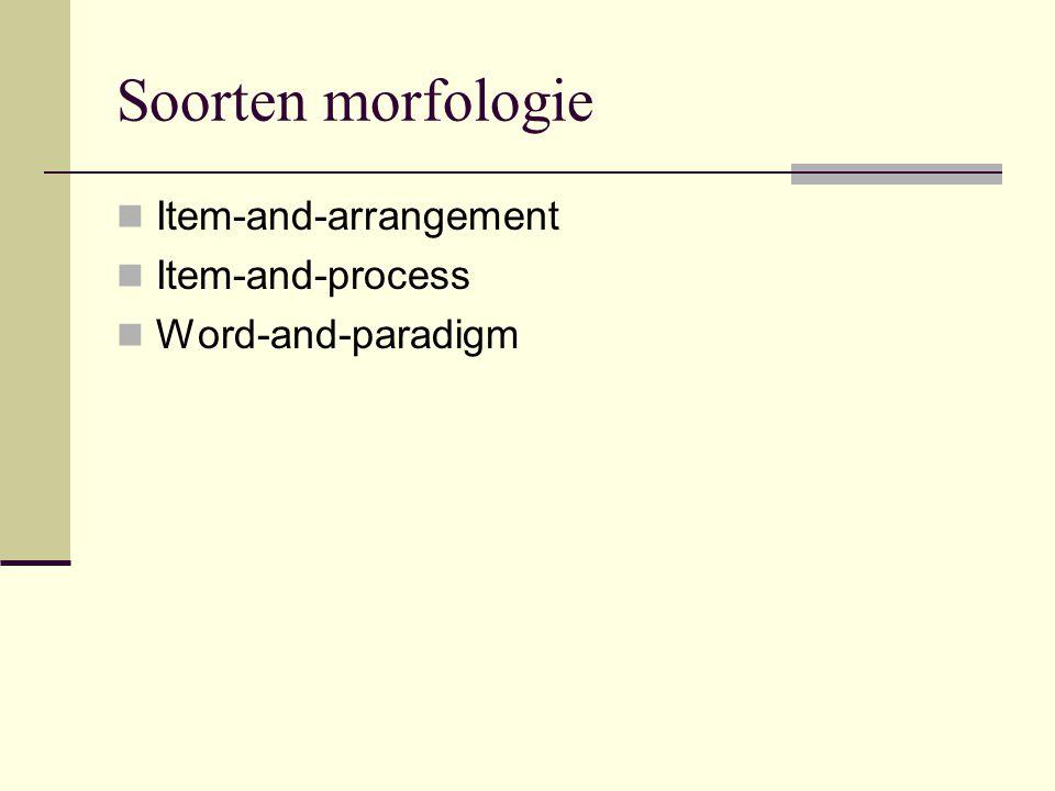 Item and Arrangement Morfologie is het aaneenbreien van morfemen Nadruk ligt op combinatoriek Vb: V[past] VAff[past] leevde