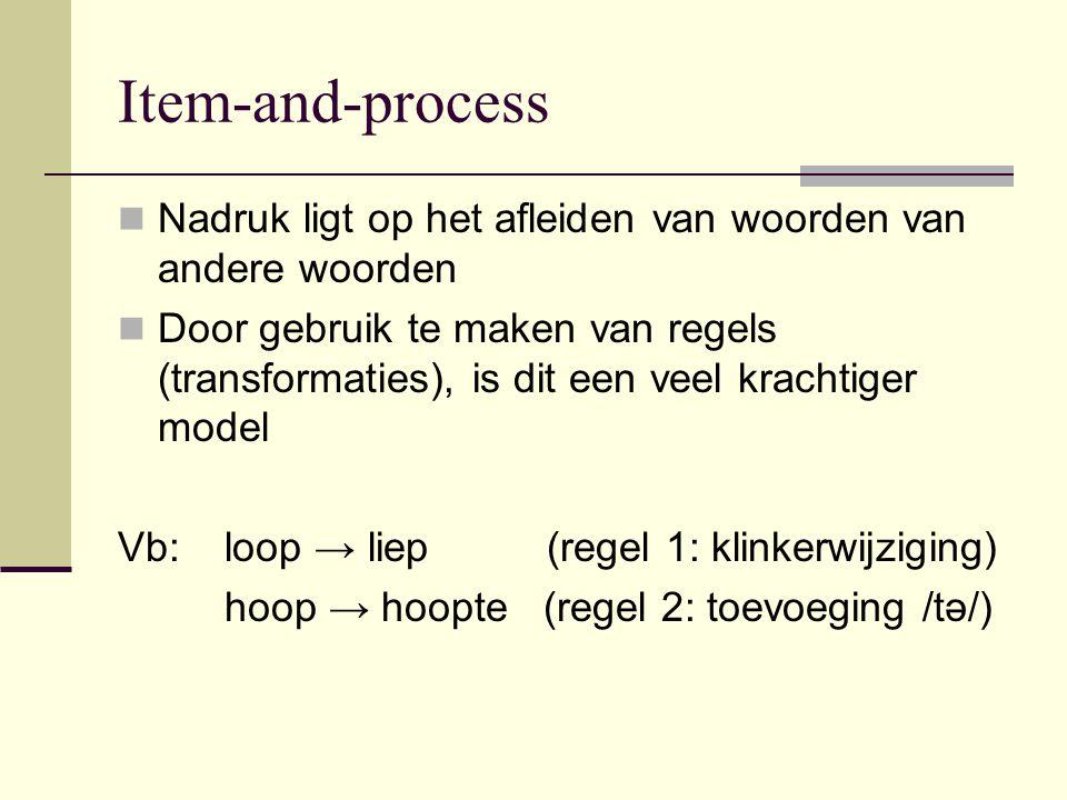 Item-and-process Nadruk ligt op het afleiden van woorden van andere woorden Door gebruik te maken van regels (transformaties), is dit een veel krachti