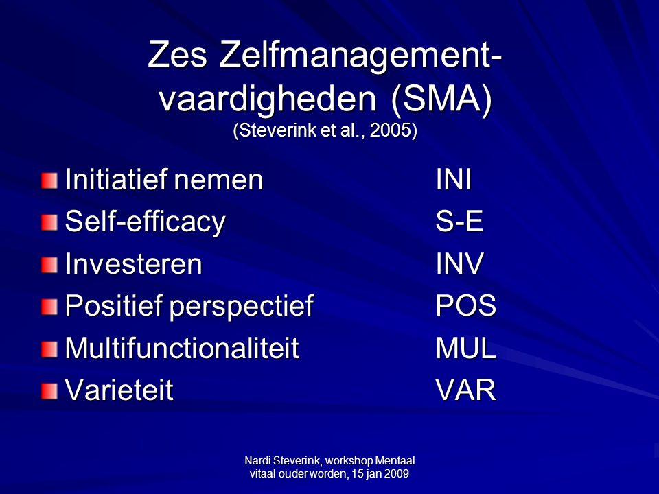Nardi Steverink, workshop Mentaal vitaal ouder worden, 15 jan 2009 Zes Zelfmanagement- vaardigheden (SMA) (Steverink et al., 2005) Initiatief nemen IN