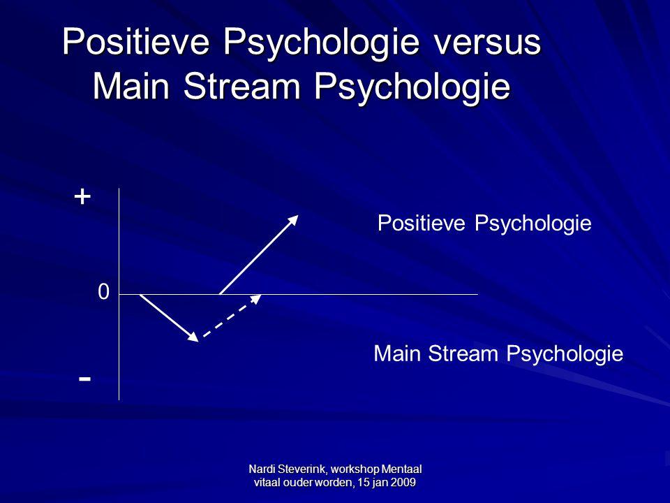 Nardi Steverink, workshop Mentaal vitaal ouder worden, 15 jan 2009 Principes van Positieve Psychologie (PP) versus MSP MSP gaat over problemen, ziekte en wat daar aan te doen.