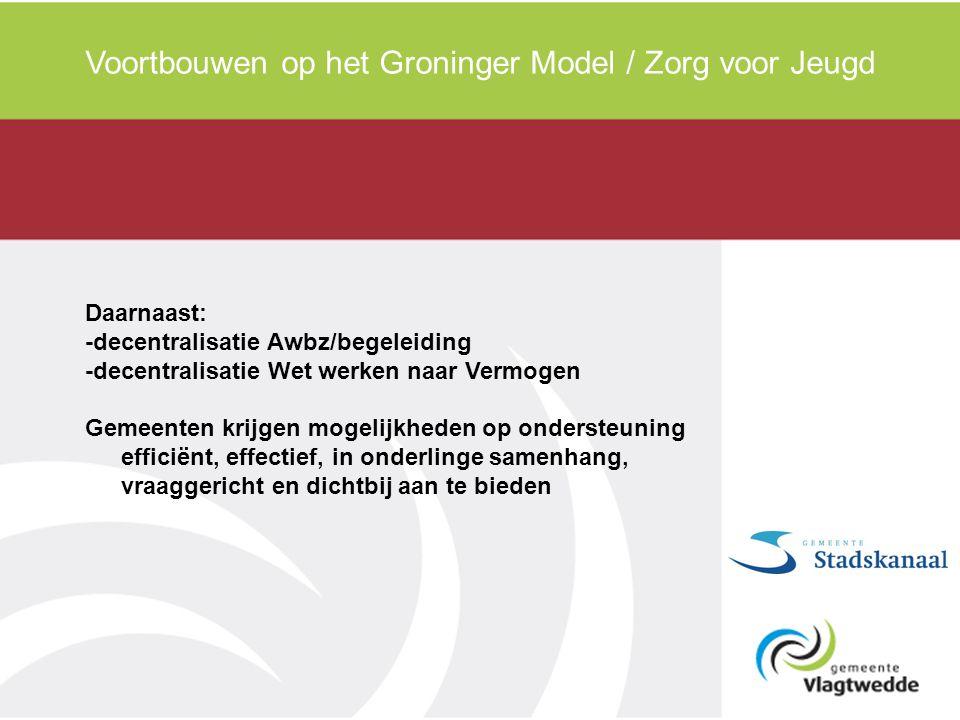 Daarnaast: -decentralisatie Awbz/begeleiding -decentralisatie Wet werken naar Vermogen Gemeenten krijgen mogelijkheden op ondersteuning efficiënt, eff