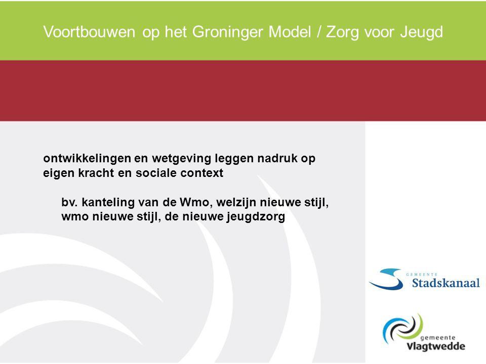 Voortbouwen op het Groninger Model / Zorg voor Jeugd ontwikkelingen en wetgeving leggen nadruk op eigen kracht en sociale context bv. kanteling van de