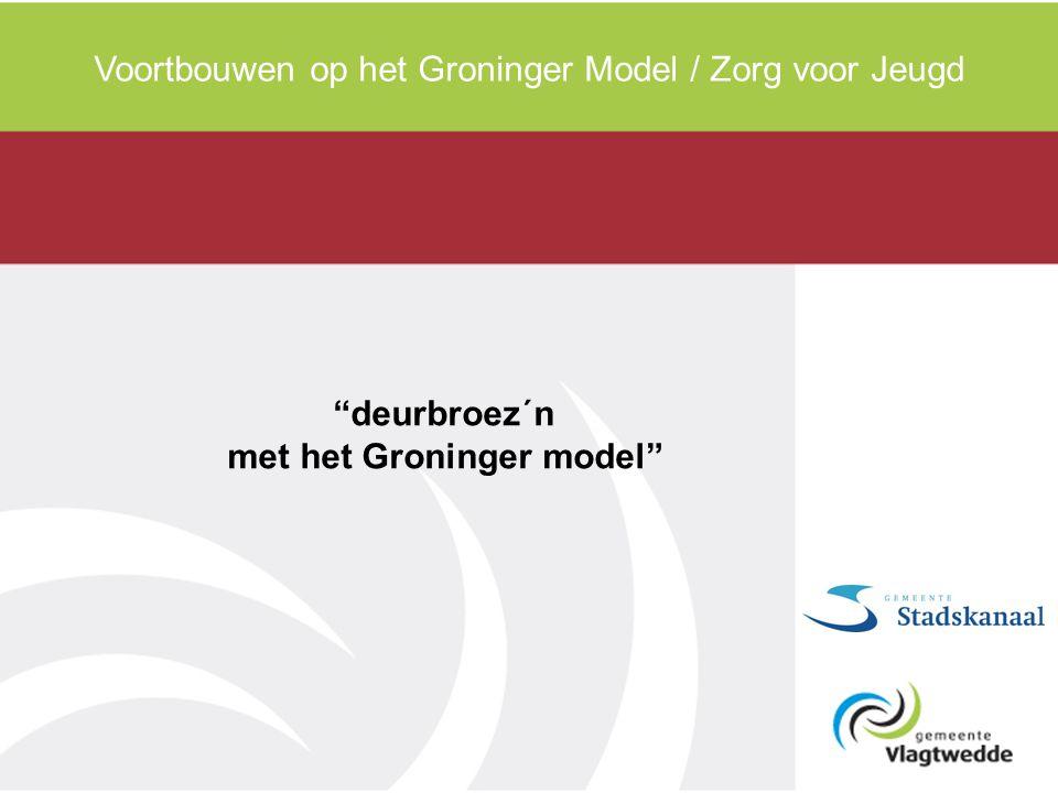 """Voortbouwen op het Groninger Model / Zorg voor Jeugd """"deurbroez´n met het Groninger model"""""""