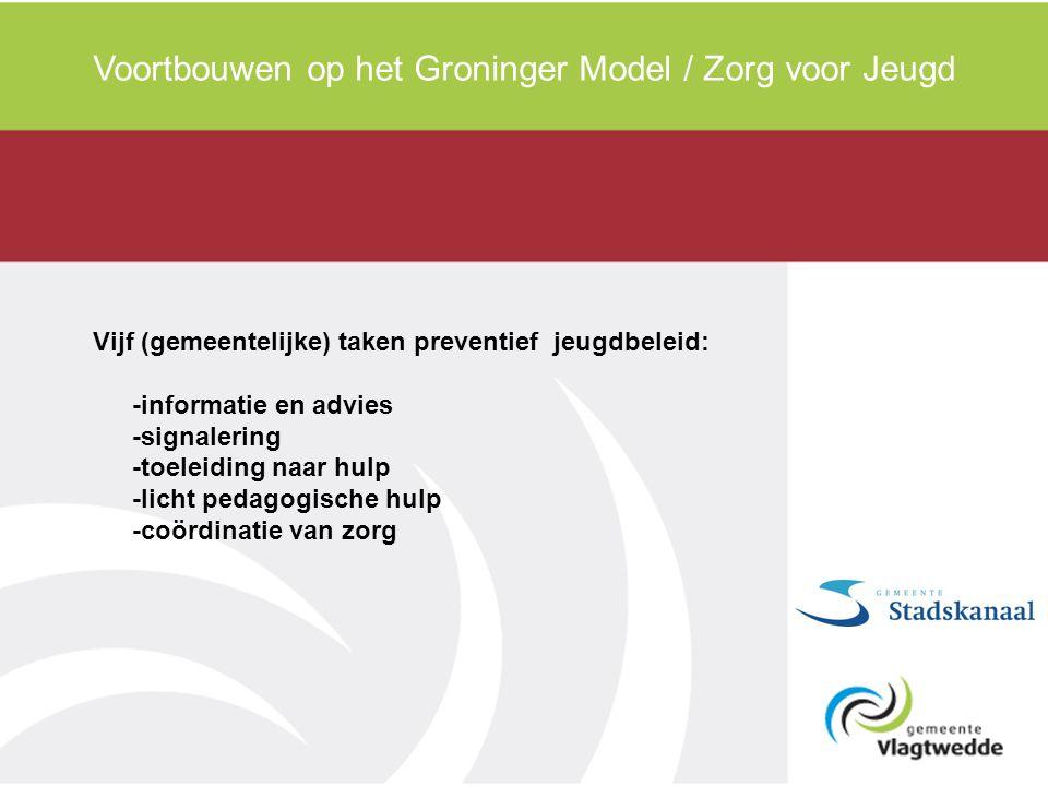 Voortbouwen op het Groninger Model / Zorg voor Jeugd Vijf (gemeentelijke) taken preventief jeugdbeleid: -informatie en advies -signalering -toeleiding naar hulp -licht pedagogische hulp -coördinatie van zorg