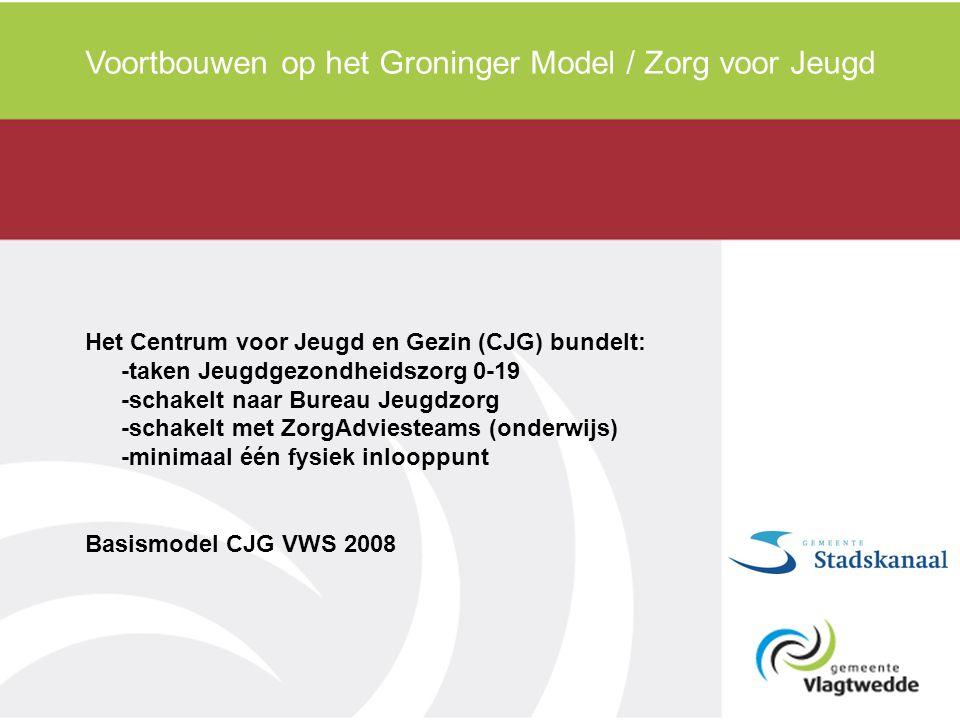 Voortbouwen op het Groninger Model / Zorg voor Jeugd Het Centrum voor Jeugd en Gezin (CJG) bundelt: -taken Jeugdgezondheidszorg 0-19 -schakelt naar Bureau Jeugdzorg -schakelt met ZorgAdviesteams (onderwijs) -minimaal één fysiek inlooppunt Basismodel CJG VWS 2008
