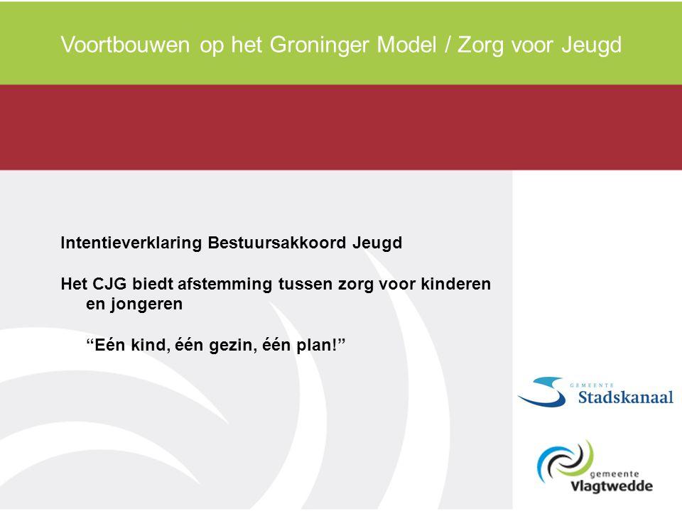 Voortbouwen op het Groninger Model / Zorg voor Jeugd Intentieverklaring Bestuursakkoord Jeugd Het CJG biedt afstemming tussen zorg voor kinderen en jo