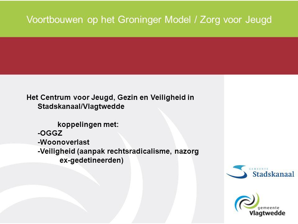 Voortbouwen op het Groninger Model / Zorg voor Jeugd Het Centrum voor Jeugd, Gezin en Veiligheid in Stadskanaal/Vlagtwedde koppelingen met: -OGGZ -Woo