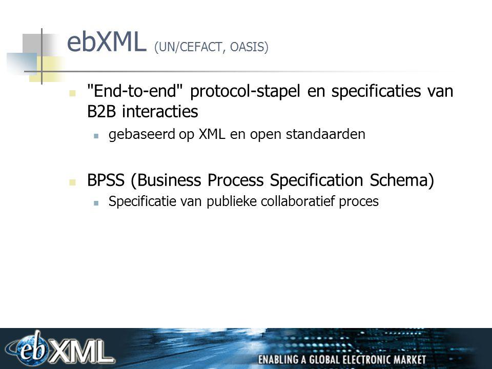 26 ebXML (UN/CEFACT, OASIS) End-to-end protocol-stapel en specificaties van B2B interacties gebaseerd op XML en open standaarden BPSS (Business Process Specification Schema) Specificatie van publieke collaboratief proces