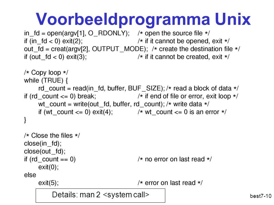 best7-10 Voorbeeldprogramma Unix Details: man 2