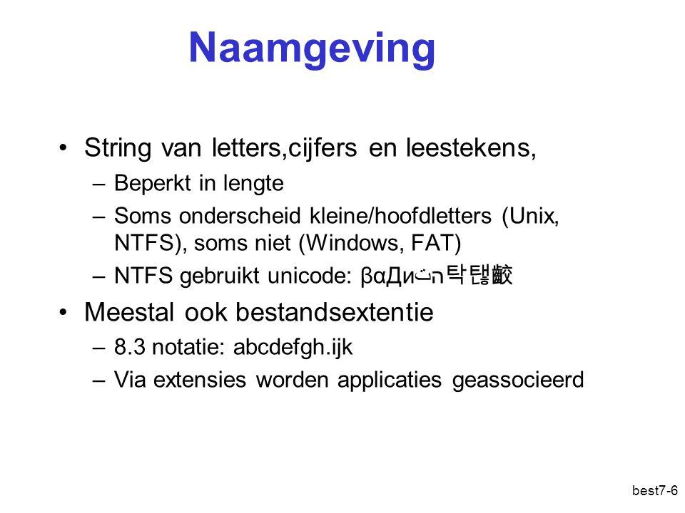best7-6 Naamgeving String van letters,cijfers en leestekens, –Beperkt in lengte –Soms onderscheid kleine/hoofdletters (Unix, NTFS ), soms niet (Windows, FAT) –NTFS gebruikt unicode: βαДиהت 탁탢齩 Meestal ook bestandsextentie –8.3 notatie: abcdefgh.ijk –Via extensies worden applicaties geassocieerd