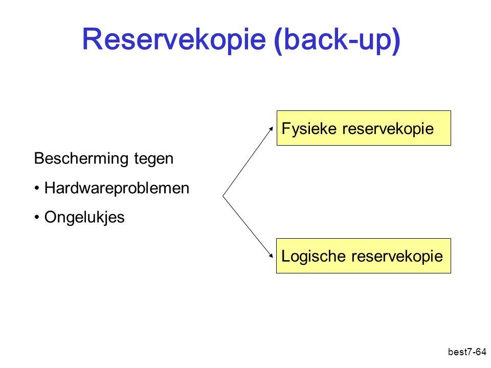 best7-64 Reservekopie ( back-up ) Fysieke reservekopie Logische reservekopie Bescherming tegen Hardwareproblemen Ongelukjes