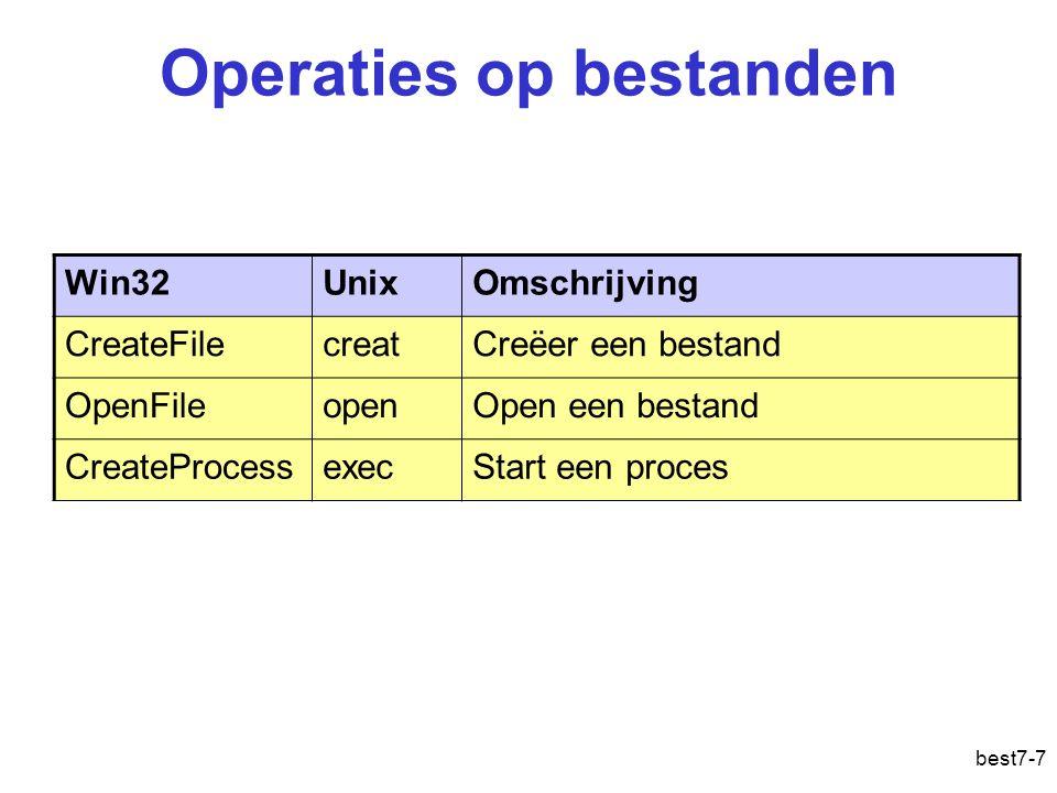 best7-7 Operaties op bestanden Win32UnixOmschrijving CreateFilecreatCreëer een bestand OpenFileopenOpen een bestand CreateProcessexecStart een proces Gegevensbestand: operaties