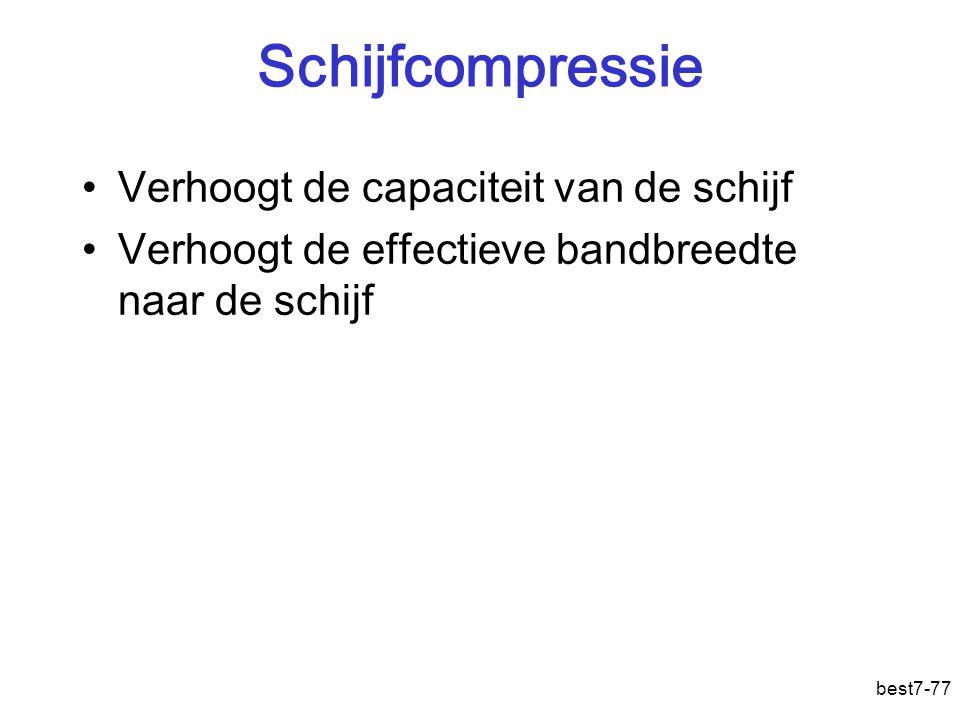best7-77 Schijfcompressie Verhoogt de capaciteit van de schijf Verhoogt de effectieve bandbreedte naar de schijf
