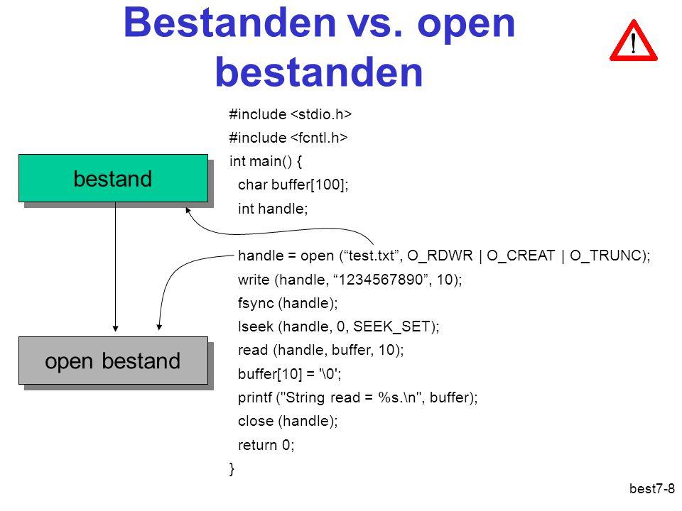 best7-9 Operaties op open gegevensbestanden Win32UnixOmschrijving CloseHandlecloseSluit een bestand ReadFilereadLees data uit bestand WriteFilewriteSchrijf data naar bestand SetFilePointerlseekStel de lees/schrijfwijzer in SetEndOfFiletruncateStel de lengte van het bestand in