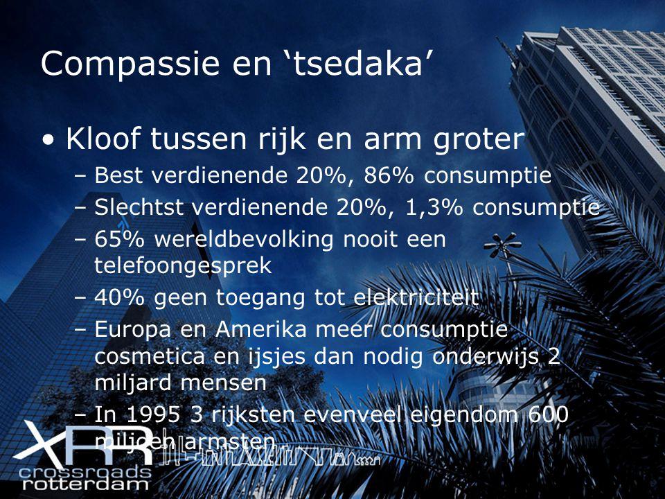 Compassie en 'tsedaka' Kloof tussen rijk en arm groter –Best verdienende 20%, 86% consumptie –Slechtst verdienende 20%, 1,3% consumptie –65% wereldbev